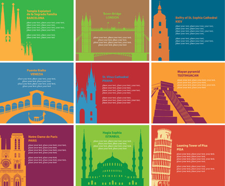 turkey istanbul: set of banners with different historical sites Illustration