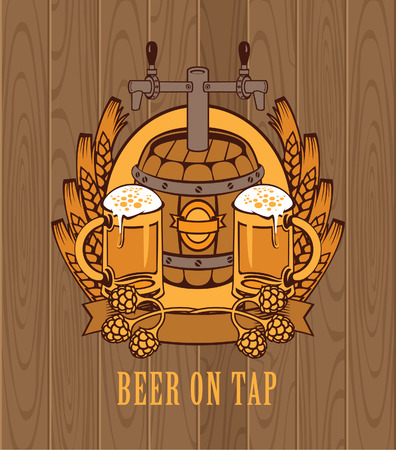 banner with a barrel of beer and two glasses on the background of wooden boards Vector