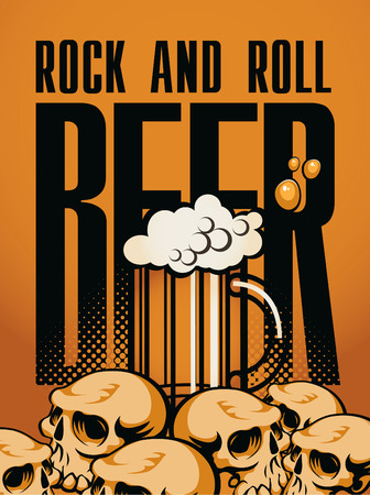 banner beer and rock  n  roll with human skulls Vector