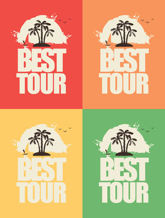 set of banners with the sea and the inscription Best Tours Vector