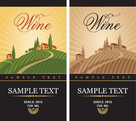 wijnetiketten met een landschap van wijngaarden