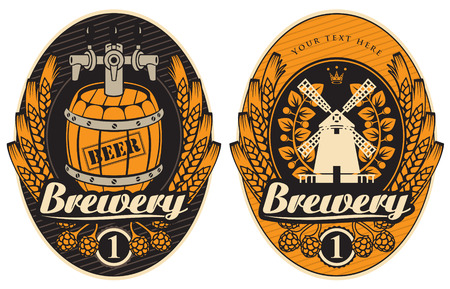 beer labels with the mill and barrel Vector