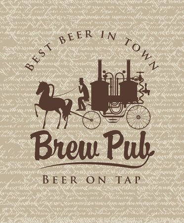 horse and cart: retro banner with the brewery on a horse cart