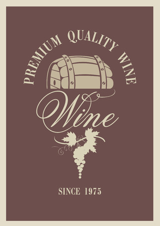 banner with a barrel of wine and grapes Vector