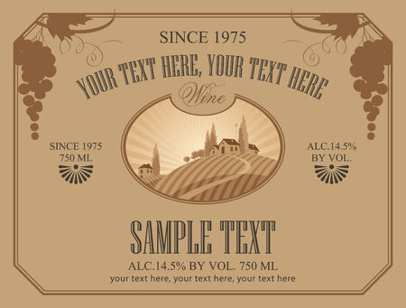 wine label with a landscape of vineyards Vector