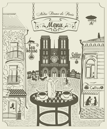 Parisian street restaurant with views of the Notre Dame de Paris Vector