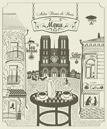 Parisian street restaurant with views of the Notre Dame de Paris Illustration