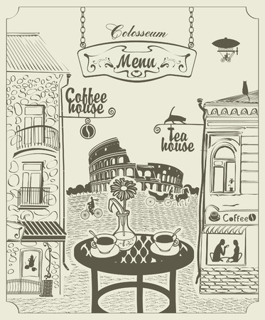 italy street: cityscape of Rome s cafe overlooking the Colosseum Illustration