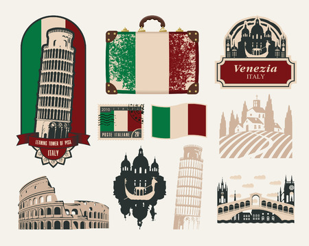 set of design elements on trips to Italy Vector