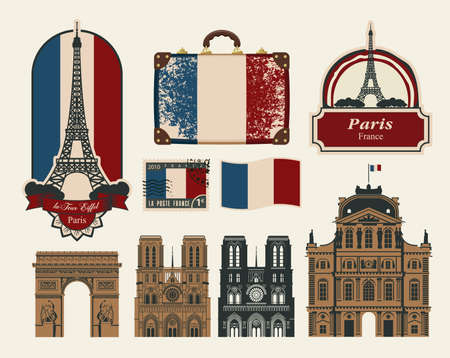 set of characters and symbols on the subject of France Paris Vector