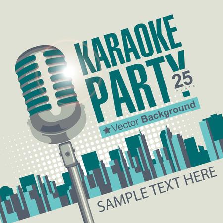 Banner met microfoon voor karaoke partijen over moderne stad achtergrond