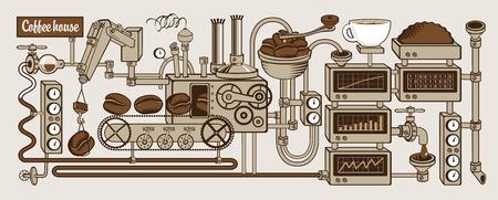 plant met transportband koffieproductie Stock Illustratie
