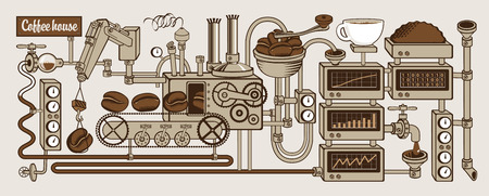 espresso machine: plant with conveyor coffee production Illustration