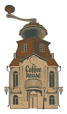 macinino caffè: coffee grinder casa con il tetto Vettoriali