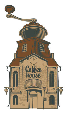 coffee house: coffee grinder house with roof