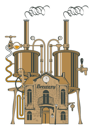 beer production: vector drawing of the brewery