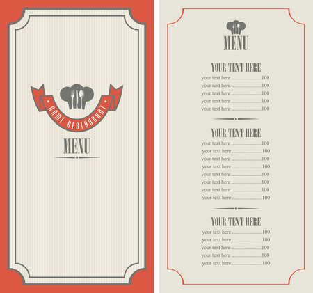 chef s hat: menu template with chef s hat and cutlery Illustration