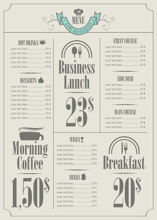 price list: price list for the restaurant menu
