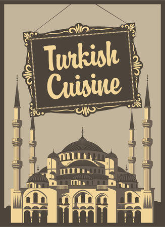 blue mosque: banner for a restaurant with Turkish cuisine and the Blue Mosque