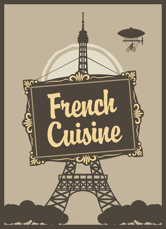 banner for a restaurant with French cuisine with Eiffel Tower Vector