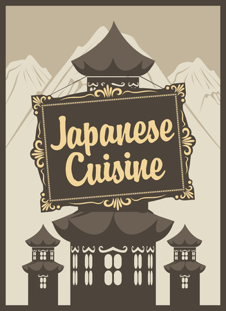 banner for a Japanese restaurant and three pagodas on the background of mountains Vector
