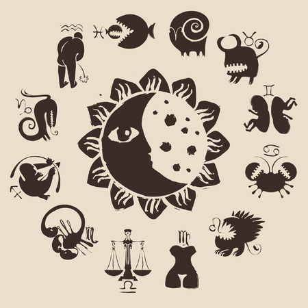 zodiac with the sun, moon, constellations and funny  animals Vector