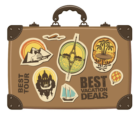 Travel suitcase with stickers of different cities Vector