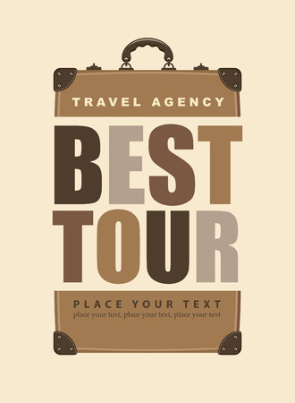 poster for travel with the inscription best tours and retro suitcase Vector