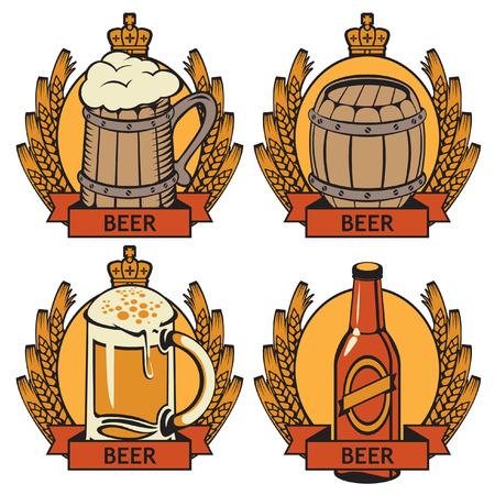 cask: set of labels for beer bottle, glass and cask