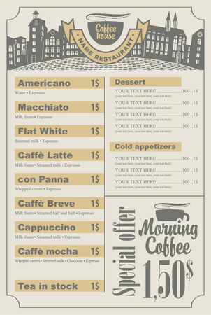savor: menu list for coffee house with a cup and old town