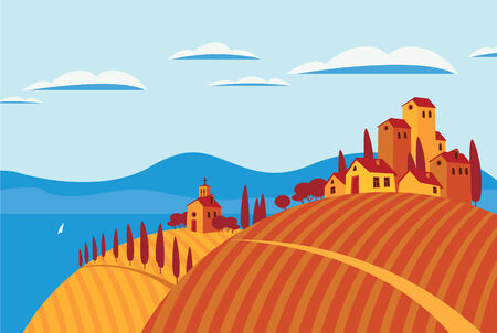 landscape with village and vineyard by the sea Vector