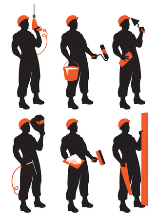 plasterer: set of vector construction workers silhouettes