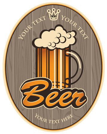 labels for the beer on the background of wooden boards Vector