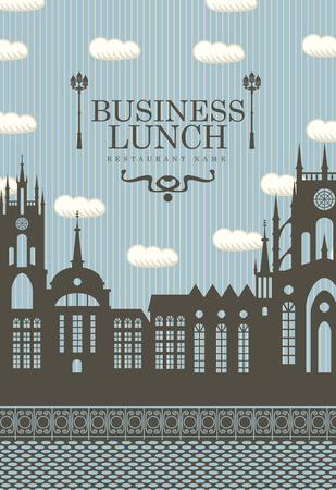 уличный фонарь: меню для деловых обедов со старым городом и уличного фонаря Иллюстрация