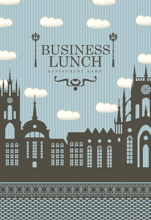 menu for business lunches with the old town and a street lamp Vector