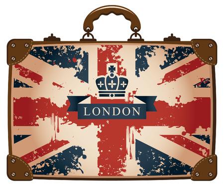 bandera inglesa: Bolsa de viaje con una bandera británica y la corona Vectores