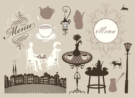 set of design elements on the subject of cafes and restaurants in retro style Vector