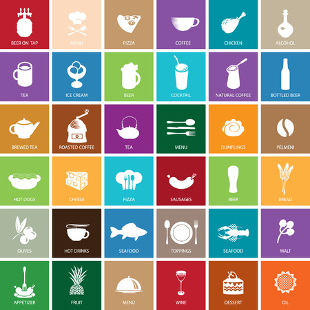 bbq barrel: set of color icons on the theme of food and drinks Illustration