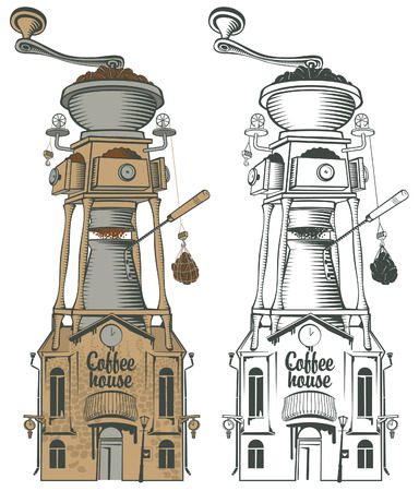 grinder: retro coffee house and grinder with roof Illustration
