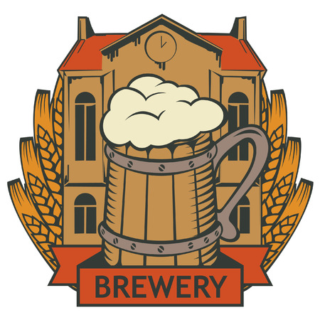 beer house: retro emblem with brewery building, a glass of beer and wheat wreath