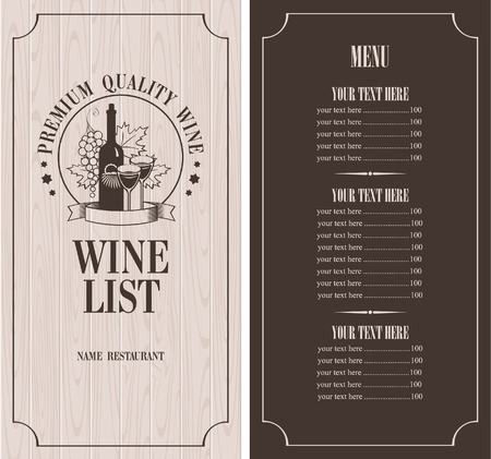Menu with a bottle of wine, glasses and a bunch of grapes on the background of wooden boards