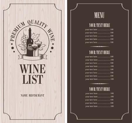 Menu met een fles wijn, glazen en een tros druiven op de achtergrond van houten planken