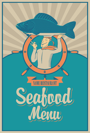 retro seafood menu with the chef with fish on his head Vector