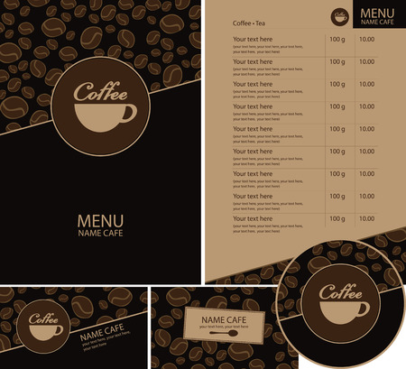 set for the cafe menu, business cards and coasters for drinks Vector