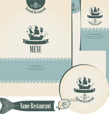 set of elements for the design of the fish restaurants Vector