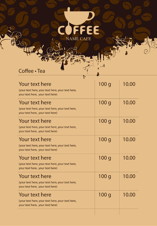 price list: Menu price list with cup of coffee and grains
