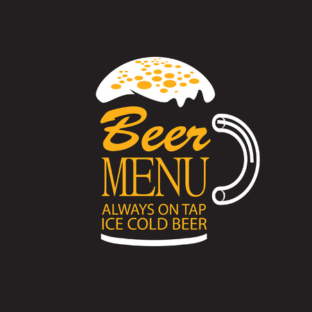 Glass of beer menu words with foam on black background Vector