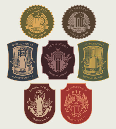 set of labels on beer in a retro style Vector