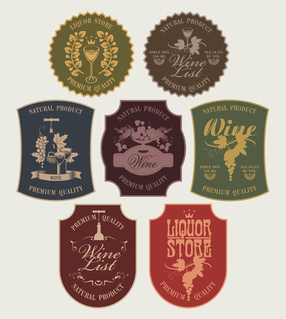 port wine: set of vector labels on wine in retro style