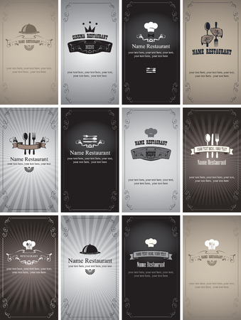 set of business cards on the theme of food and drinks in style Black and white film Vector